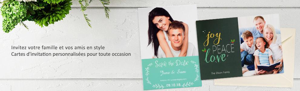 Cartes d'invitations photo papeterie personnalisées