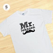 T-shirt blanc adulte petit, personnalisé M. pour le marié mari