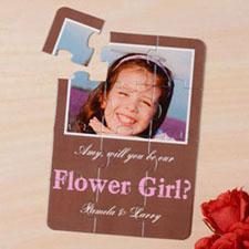 Invitation puzzle brun Veux-tu être ma bouquetière