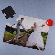 Invitation puzzle personnalisée magnétique tout juste mariés