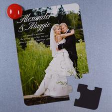 Invitation puzzle photo personnalisée magnétique annonce de mariage