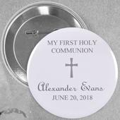Pin bouton personnalisé gris baptême simple croix, rond 57mm