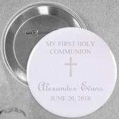 Pin bouton personnalisé gris clair baptême simple croix, rond 57mm