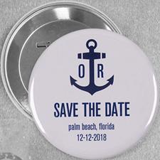 Pin bouton personnalisé ancre nautique mariage, rond 76mm
