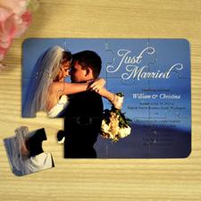 Invitation puzzle personnalisée annonce de mariage Tout juste mariés