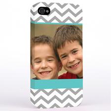 Personalized Aqua & Grey Chevron Photo iPhone 4 Hard Case Cover