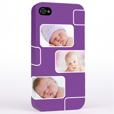 Personalized Purple 3 Collage iPhone 4 Hard Case Cover