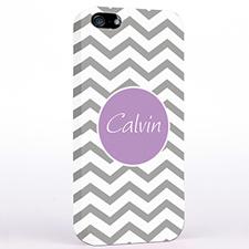 Personalized Silver Grey Chevron iPhone Case