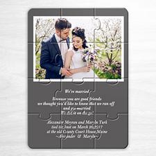 Invitation puzzle personnalisée grise mariage