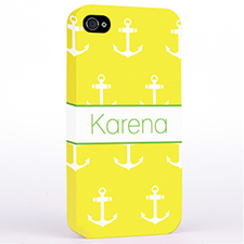 Personalized Yellow And White Cute Anchors Hard Case Cover