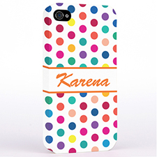Personalized Orange Colorful Polka Dots Hard Case Cover