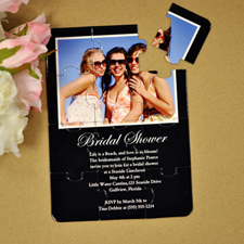 Invitation puzzle personnalisée noire fête de la mariée