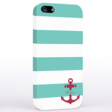 Personalized Aqua And Red Anchor Monogrammed iPhone Case