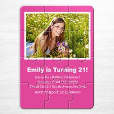 Invitation puzzle personnalisée rose vif 16e anniversaire