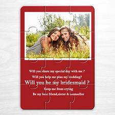 Invitation photo puzzle personnalisée mariage rouge