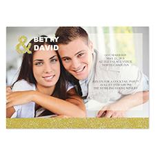 Carte d'invitation annonce de mariage personnalisée paillettes dorées