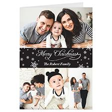 Carte de voeux de Noël personnalisée collage 4 noir