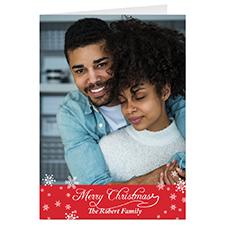 Carte de voeux de Noël personnalisée simple neige rouge