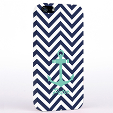Personalized Aqua Anchor Black Chevron iPhone Case