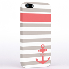 Personalized Carol Anchor Grey Stripes iPhone Case