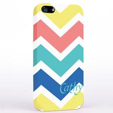Personalized Yellow Carol Blue Chevron iPhone Case