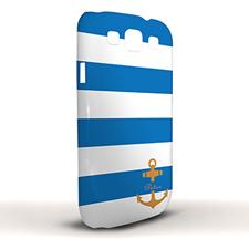 Design Your Own Blue Stripe Orange Anchor Samsung Phone Case Cover