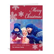 Carte de Noël rouge vacances eneigées personnalisée