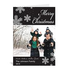Carte de Noël noire vacances eneigées personnalisée