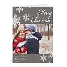 Carte de Noël grise vacances eneigées personnalisée