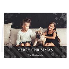 Carte de voeux de Noël noire personnalisée Qu'il neige