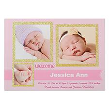 Carte d'invitation de fête d'annonce de naissance personnalisée fille de merveille bienvenue paillettes personnalisé