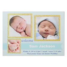 Carte photo d'invitation fête d'annonce de naissance personnalisée paillettes garçon de merveille bienvenu