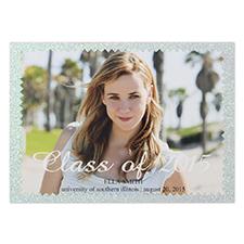 Annonce de remise de diplômes photo personnalisée image de réussite paillettes 12,7 x 17,78 cm carte d'invitation de fête