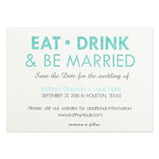 Cartes d'invitation personnalisées mangez, buvez & soyez mariés