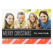 Carte d'invitation personnalisée paillettes rouges Noël