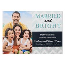 Cartes d'invitation de Noël photo personnalisées marié & brillant paillettes personnalisé