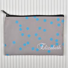 Custom Printed Turquoise Natural Polka Dots Zipper Bag