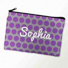 Custom Printed Purple Grey Large Dots Zipper Bag