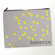 Personalized Yellow Natural Polka Dots Large Cosmetic Bag (11