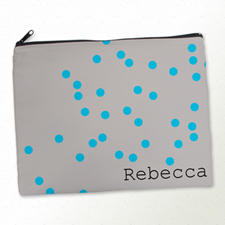 Personalized Turquoise Natural Polka Dots Large Cosmetic Bag (11