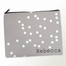 Personalized White Natural Polka Dots Large Cosmetic Bag (11
