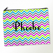 Personalized Colorful Chevron Pattern Large Cosmetic Bag (11
