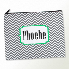 Personalized Grey Chevron Large Cosmetic Bag (11
