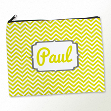 Personalized Yellow Chevron Large Cosmetic Bag (11