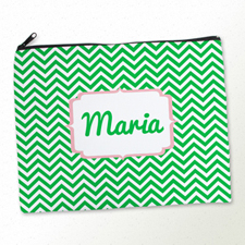 Personalized Green Chevron Large Cosmetic Bag (11