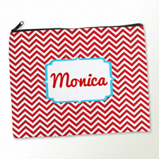 Personalized Red Chevron Large Cosmetic Bag (11