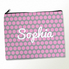 Personalized Pink Grey Polka Dots Large Cosmetic Bag (11