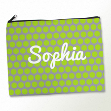 Personalized Lime Grey Polka Dots Large Cosmetic Bag (11