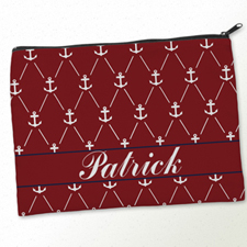 Personalized Red White Anchor Big Make Up Bag (9.5 X 13 Inch)