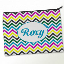 Personalized Yellow Colorful Chevron Big Make Up Bag (9.5 X 13 Inch)